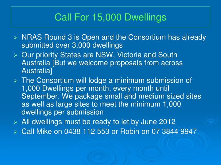 Call for 15 000 dwellings