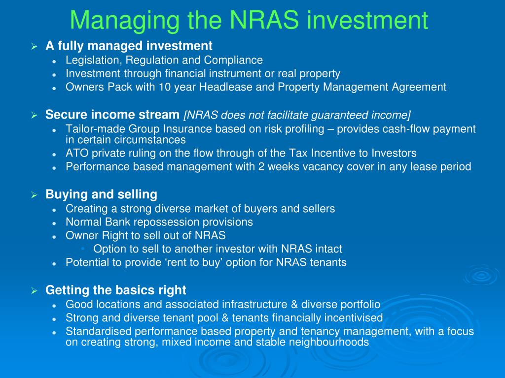 Managing the NRAS investment