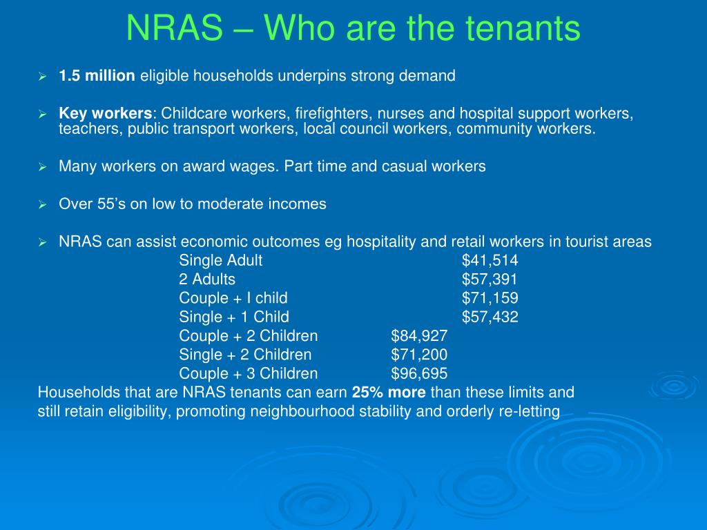 NRAS – Who are the tenants