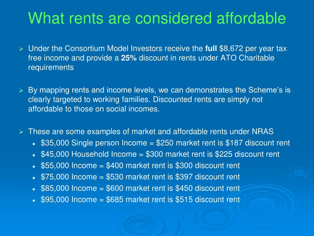 What rents are considered affordable
