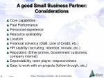 a good small business partner considerations