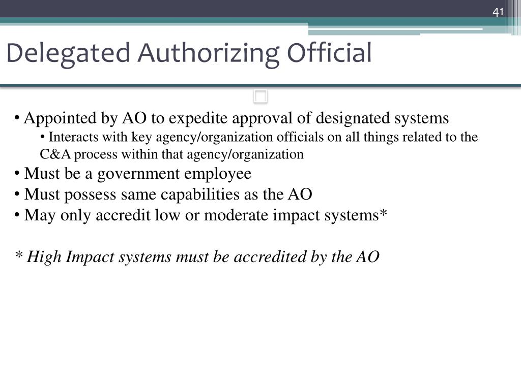 Delegated Authorizing Official