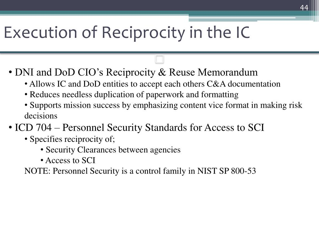 Execution of Reciprocity in the IC
