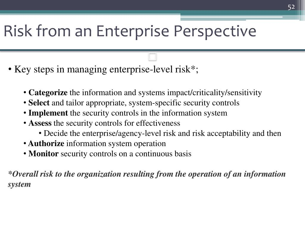 Risk from an Enterprise Perspective