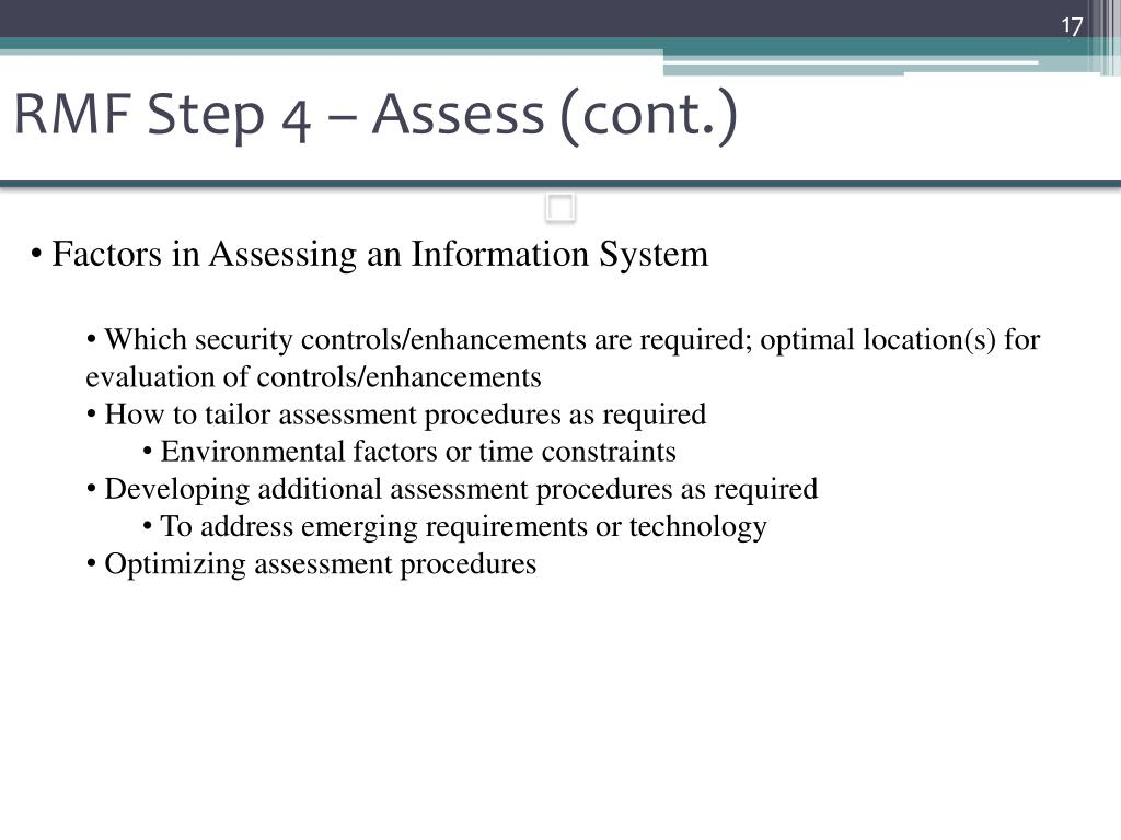 RMF Step 4 – Assess (cont.)
