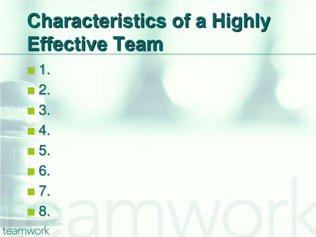 Characteristics of a Highly Effective Team