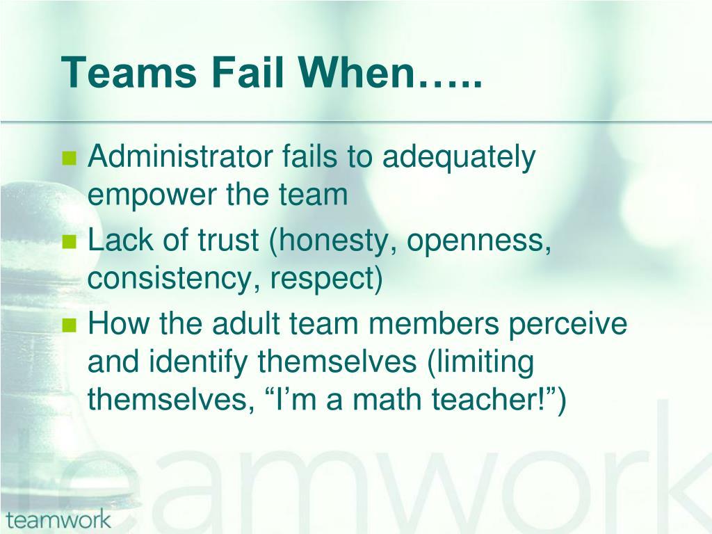 Teams Fail When…..