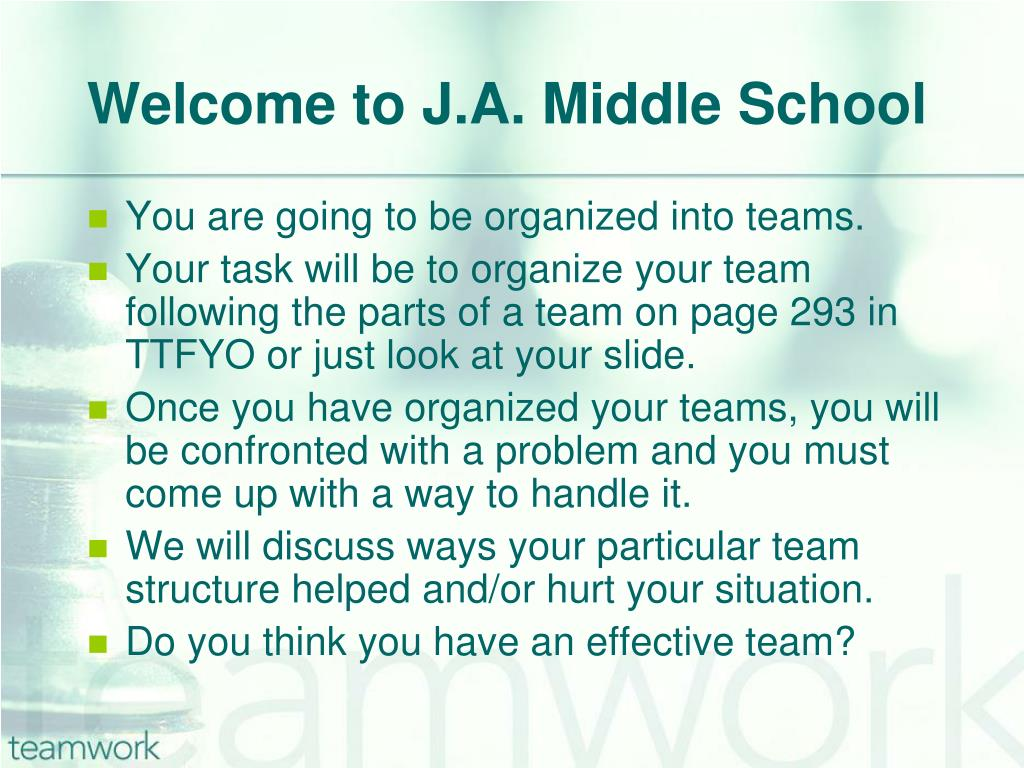 Welcome to J.A. Middle School