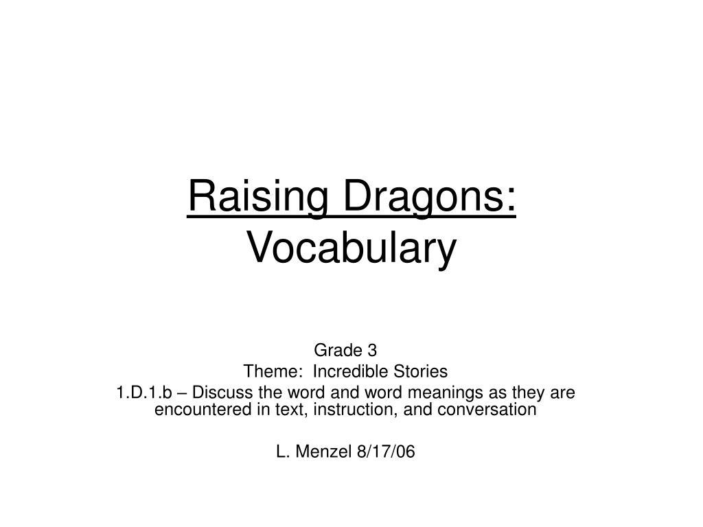 raising dragons vocabulary l.