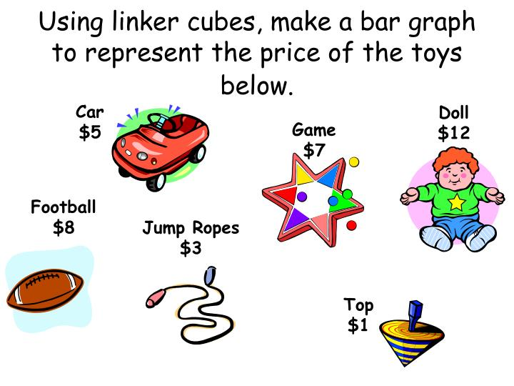 Using linker cubes make a bar graph to represent the price of the toys below