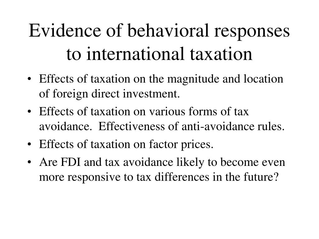 Evidence of behavioral responses to international taxation