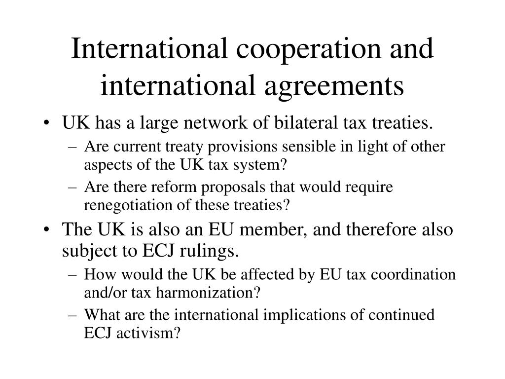 International cooperation and international agreements
