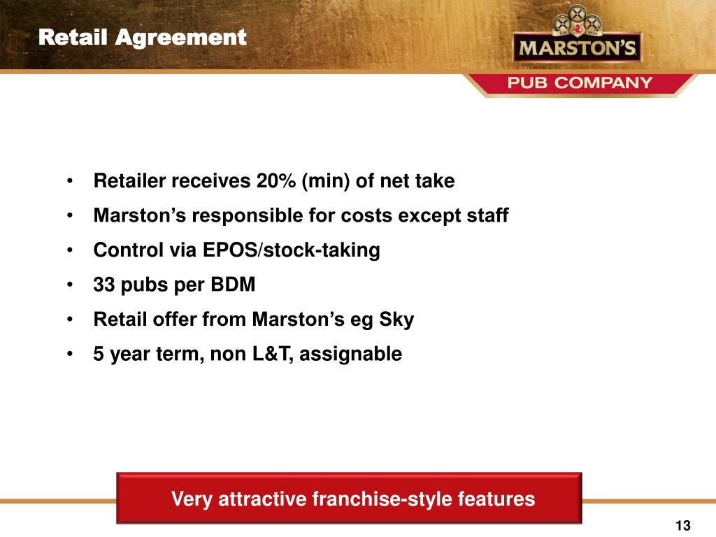 Retailer receives 20% (min) of net take