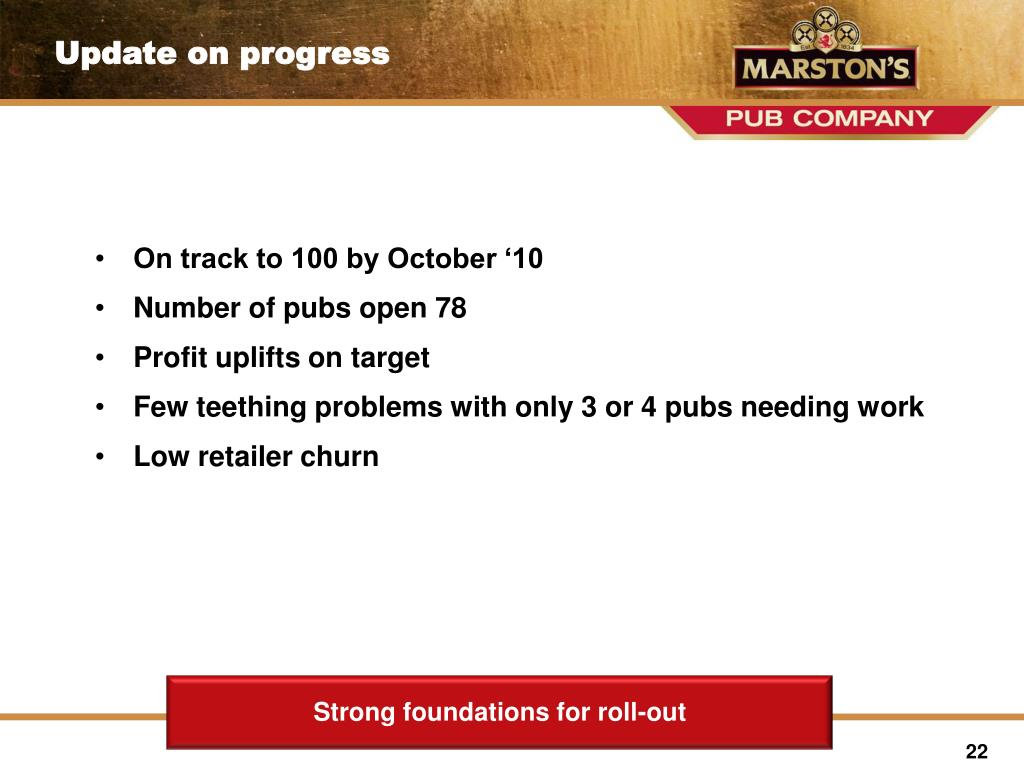 On track to 100 by October '10
