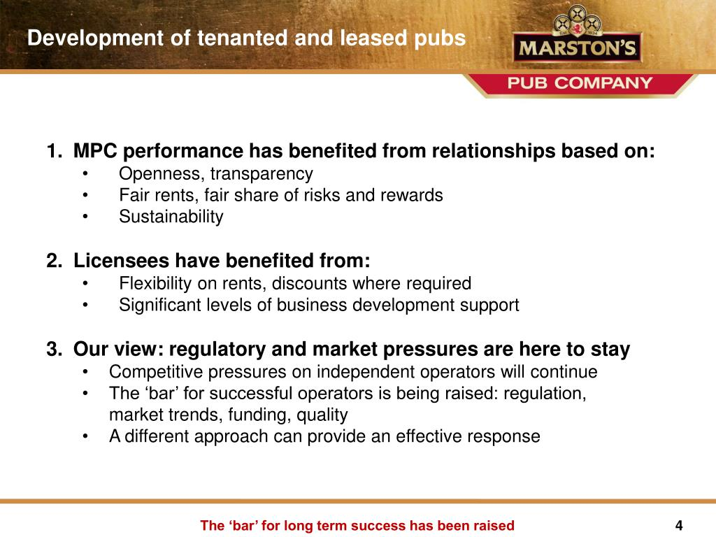 Development of tenanted and leased pubs
