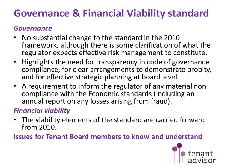 Governance financial viability standard