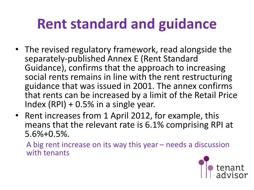 Rent standard and guidance