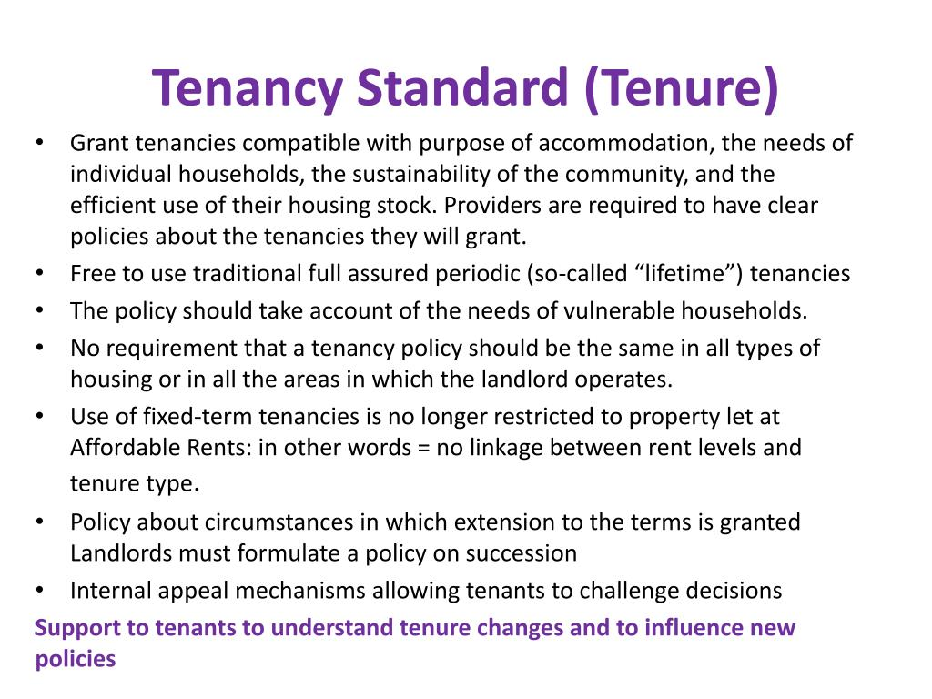 Tenancy Standard (Tenure)