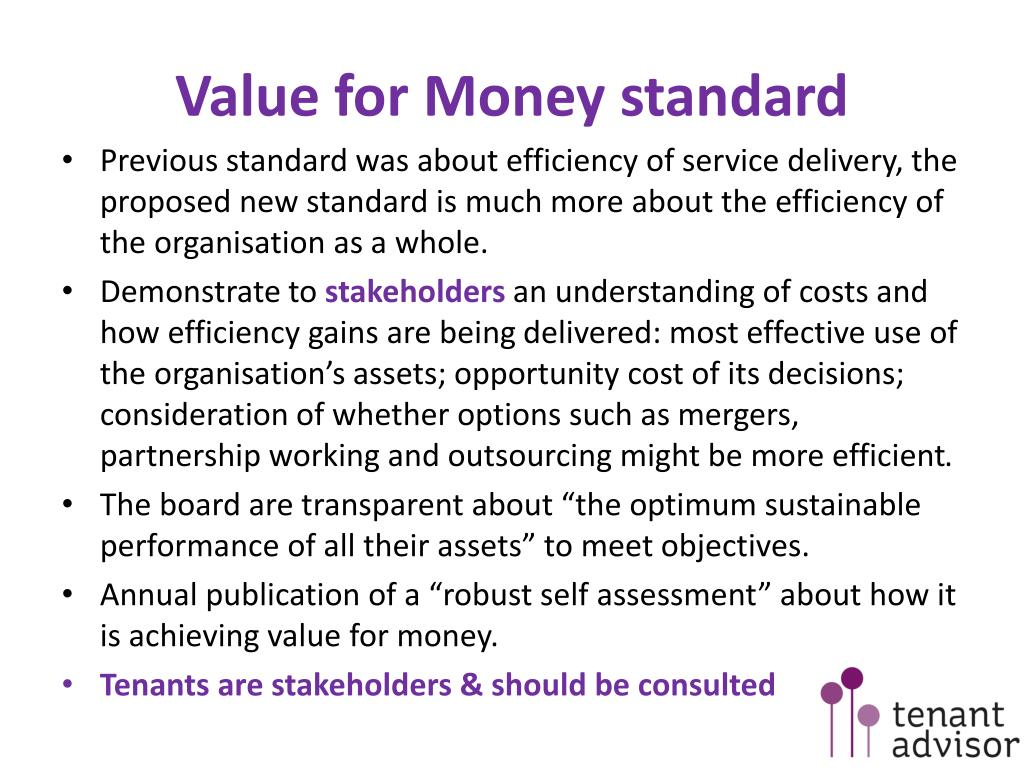 Value for Money standard