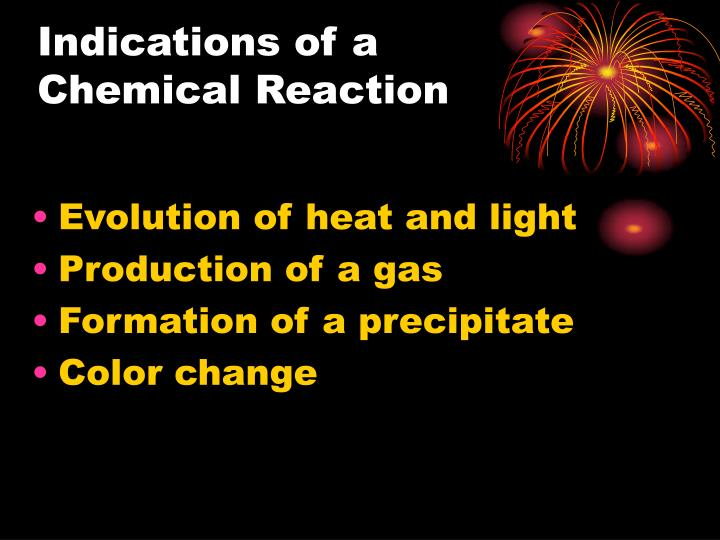 Indications of a chemical reaction