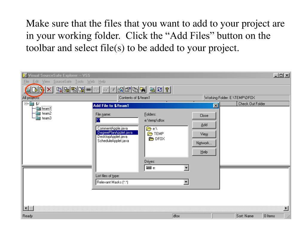 """Make sure that the files that you want to add to your project are in your working folder.  Click the """"Add Files"""" button on the toolbar and select file(s) to be added to your project."""