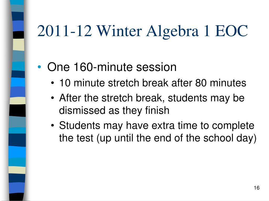 2011-12 Winter Algebra 1 EOC
