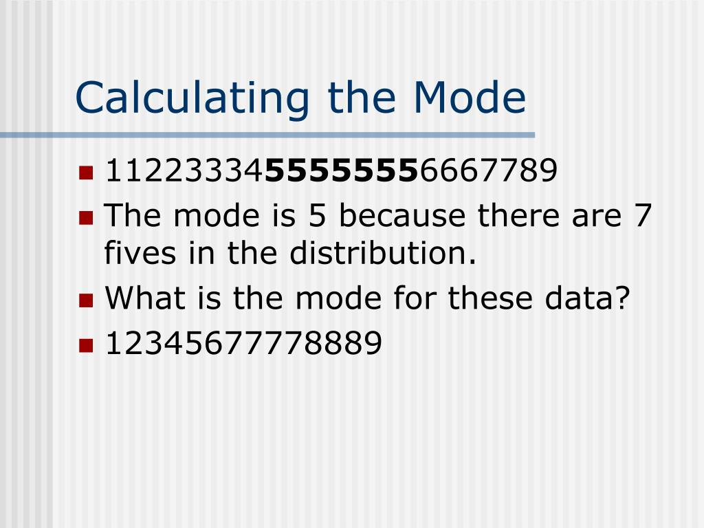 Calculating the Mode