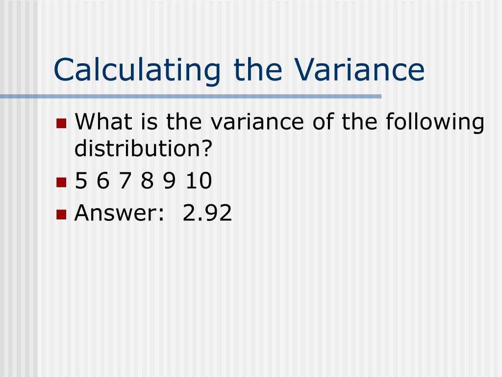 Calculating the Variance