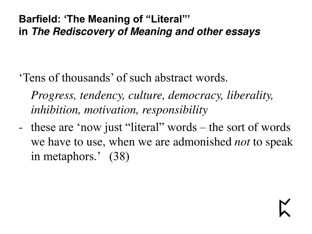 """Barfield: 'The Meaning of """"Literal""""'"""