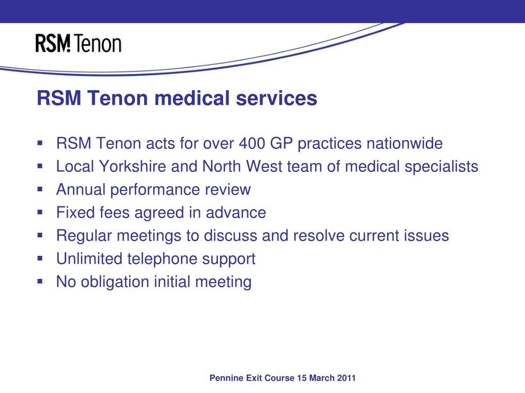 RSM Tenon medical services
