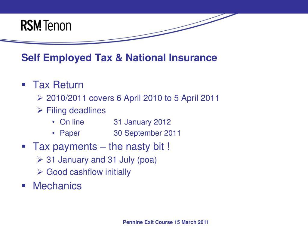 Self Employed Tax & National Insurance