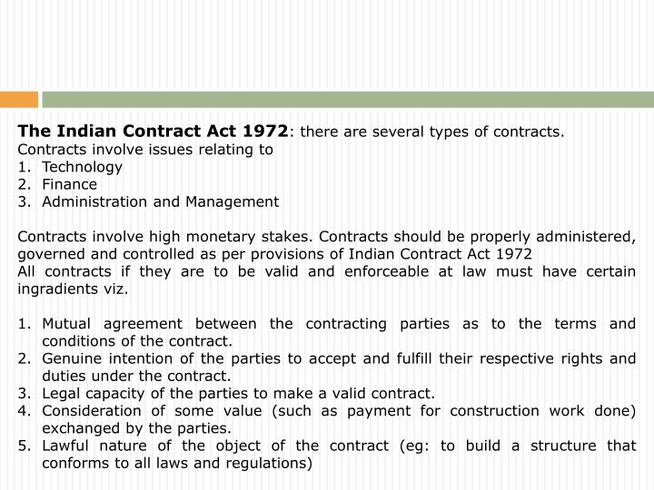 The Indian Contract Act 1972