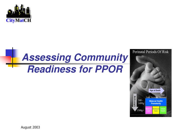 Assessing community readiness for ppor