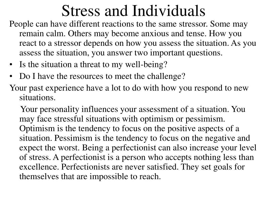 Stress and Individuals