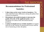 recommendations for professional societies