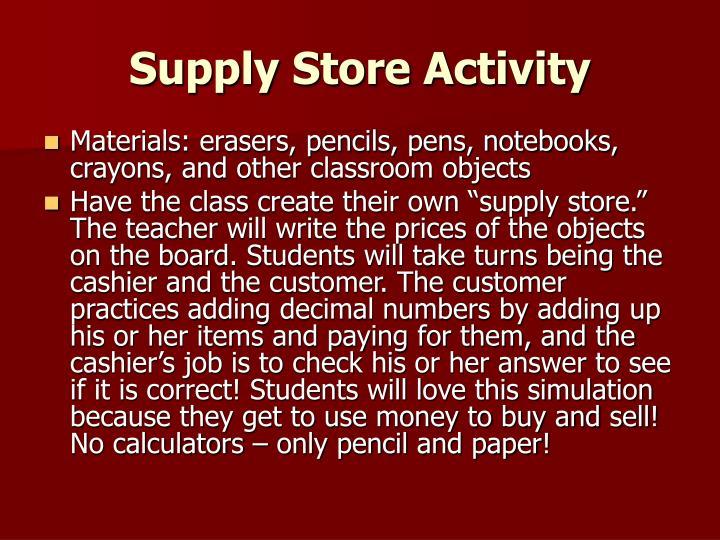 Supply Store Activity
