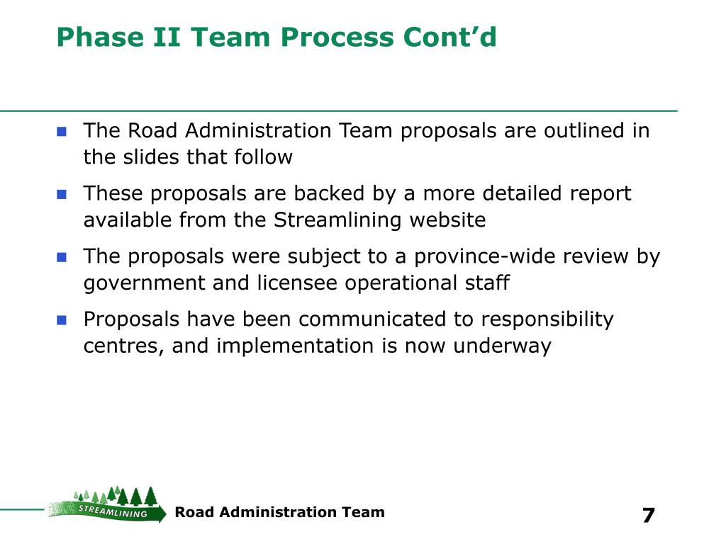 Phase II Team Process Cont'd