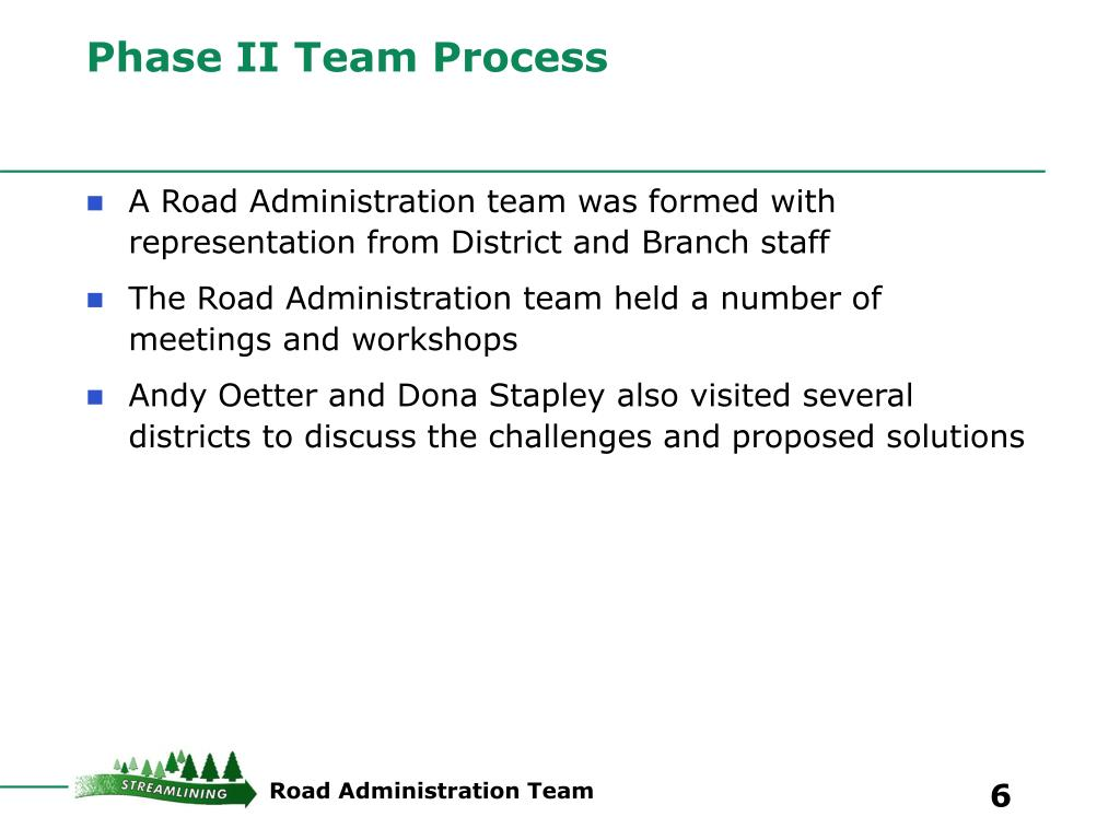Phase II Team Process