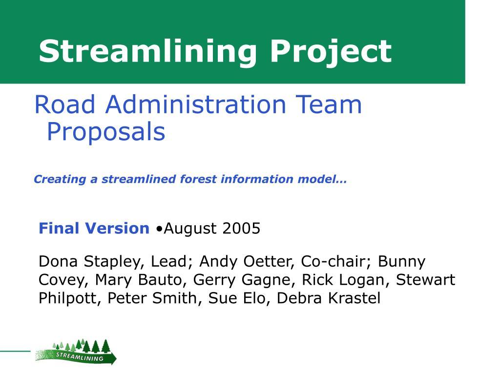 Streamlining Project