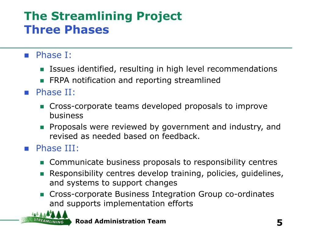 The Streamlining Project