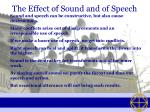 the effect of sound and of speech