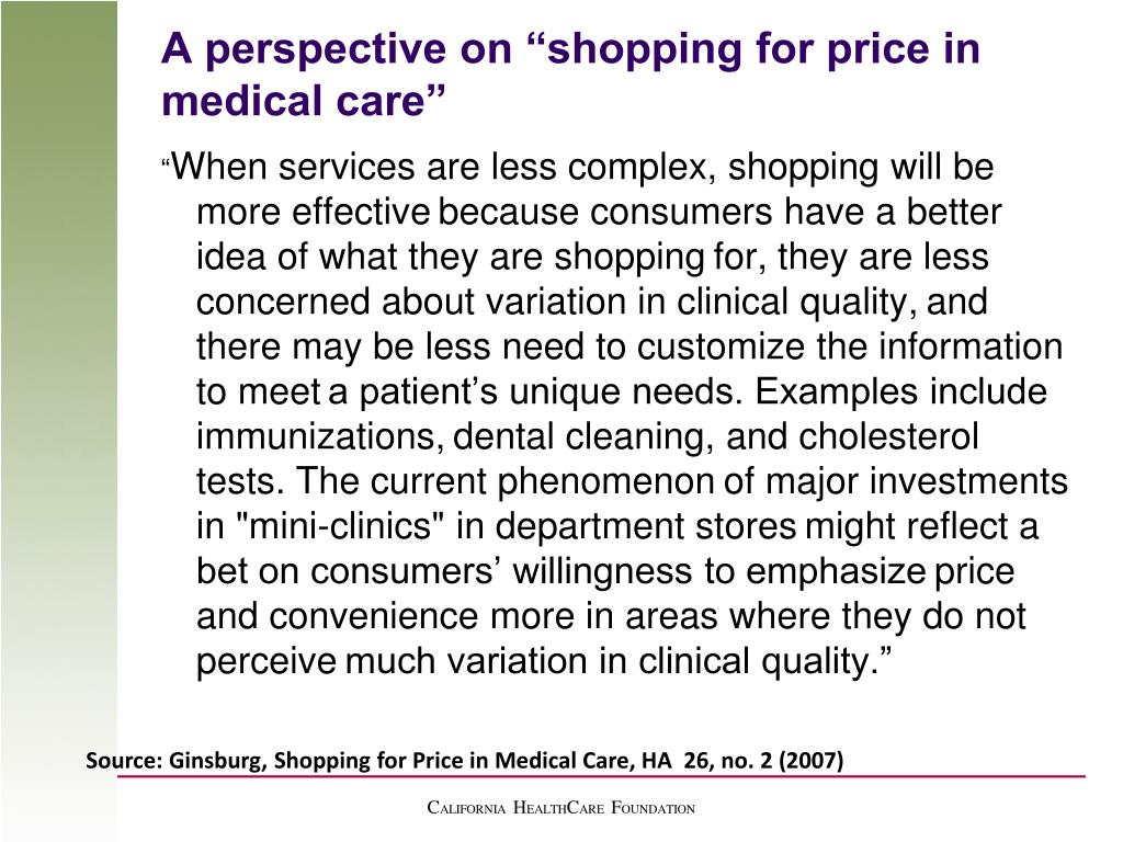 """A perspective on """"shopping for price in medical care"""""""