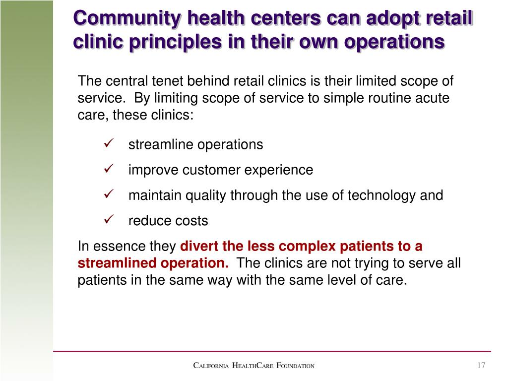 Community health centers can adopt retail clinic principles in their own operations