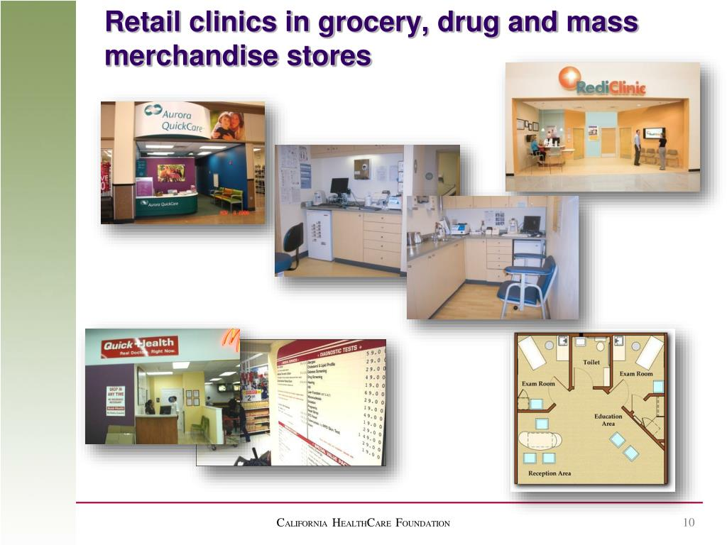 Retail clinics in grocery, drug and mass merchandise stores