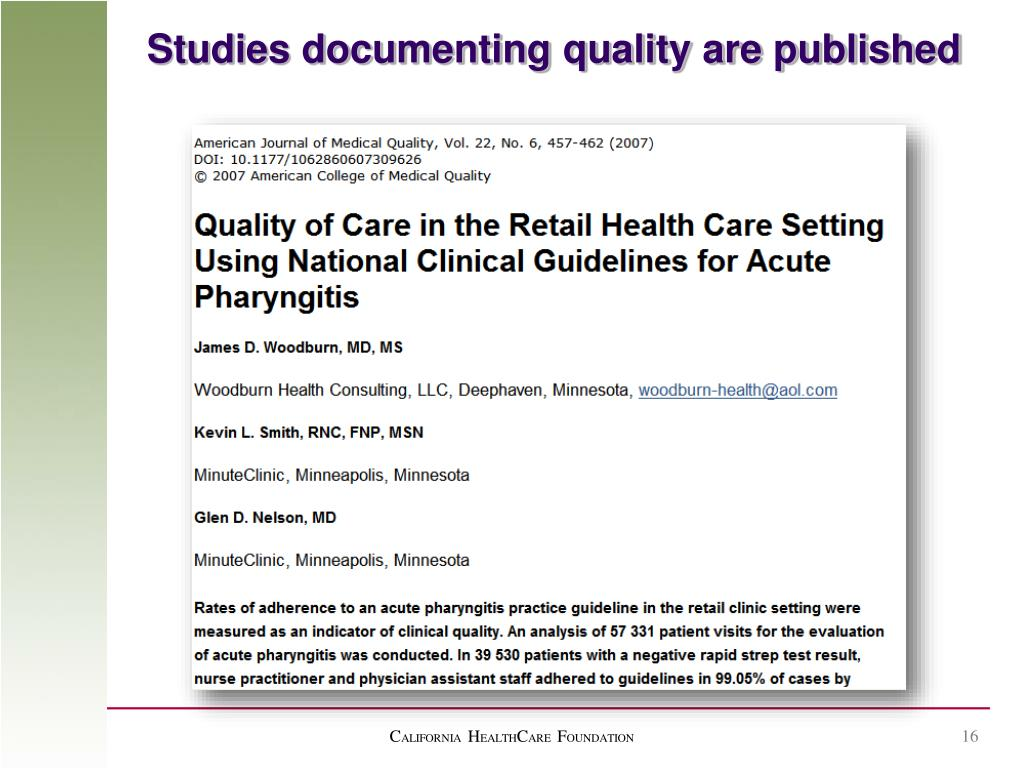Studies documenting quality are published