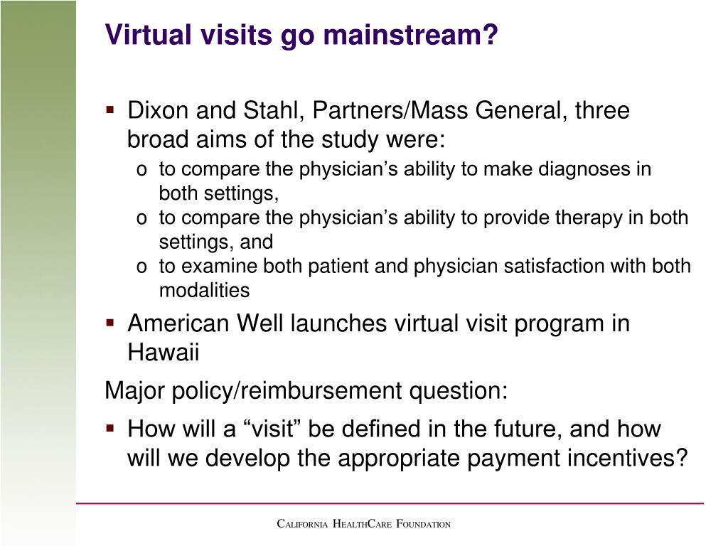 Virtual visits go mainstream?