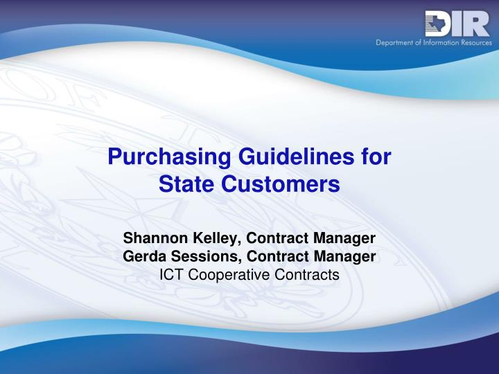 Purchasing guidelines for state customers
