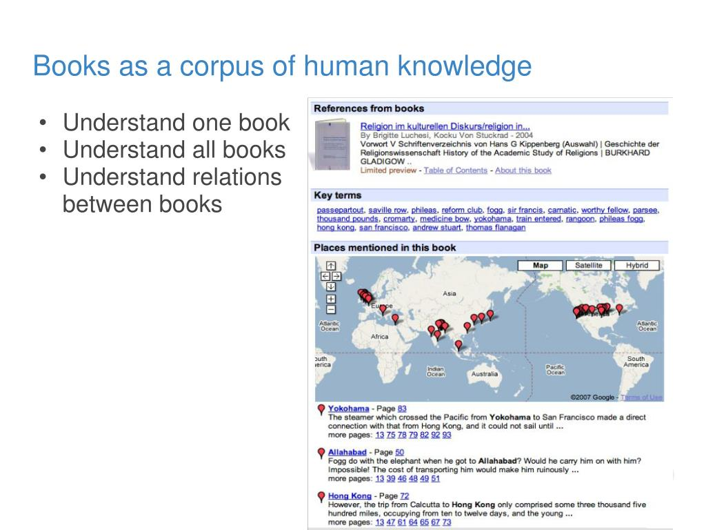 Books as a corpus of human knowledge