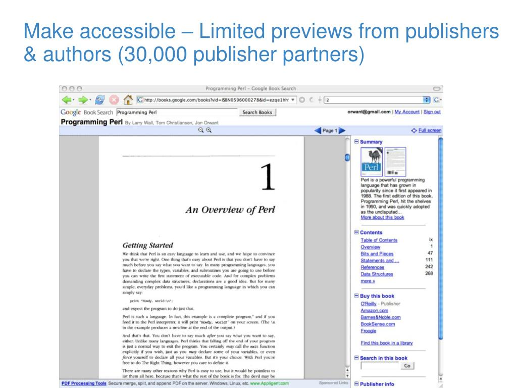 Make accessible – Limited previews from publishers & authors (30,000 publisher partners)