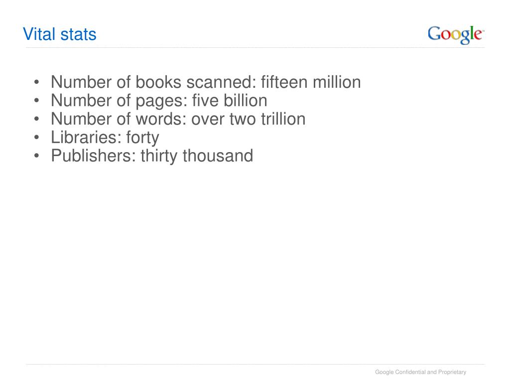 Number of books scanned: fifteen million